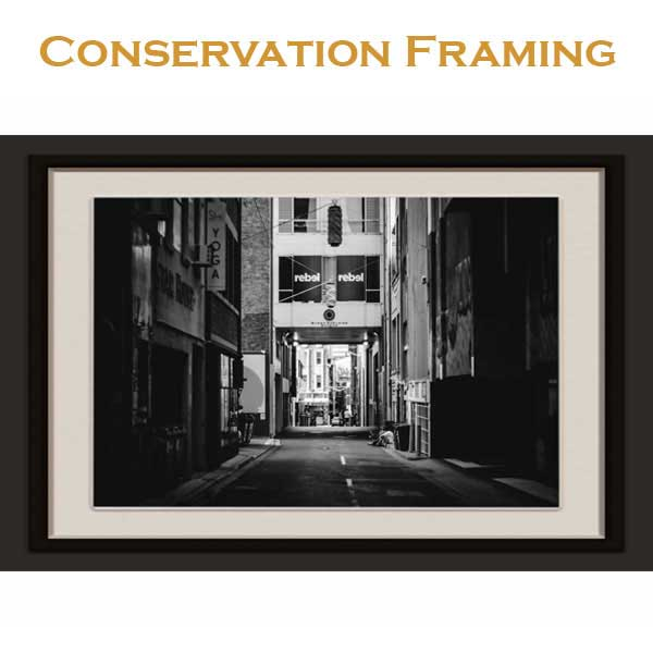 printing, framing, digital conversion, restoration, mounting, laminating;